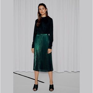 & Other Stories Green Micropleated Midi Skirt